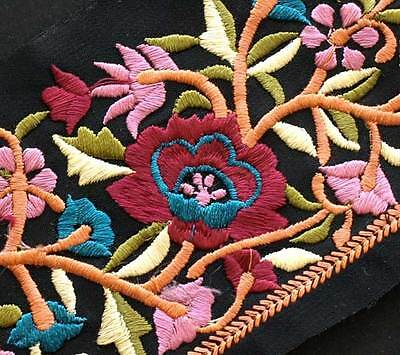 Sheer Black Trim Embroidered With Rose & Pink Flowers