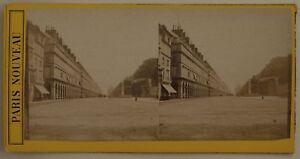 Parigi-Rue-Da-Rivoli-Francia-Foto-Stereo-L44-Vintage-Albumina-c1870