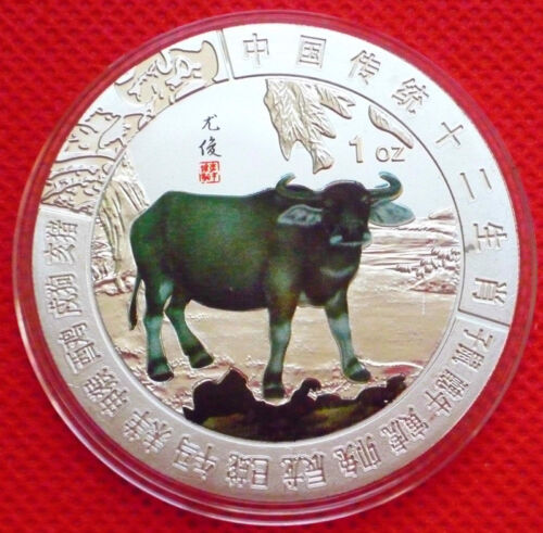 New 2019 Chinese Lunar Zodiac Year of the Cow Colored Silver Coin