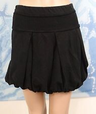 POESI@ bubble hem elastic bottom & waist black pleat mini skirt,Size M