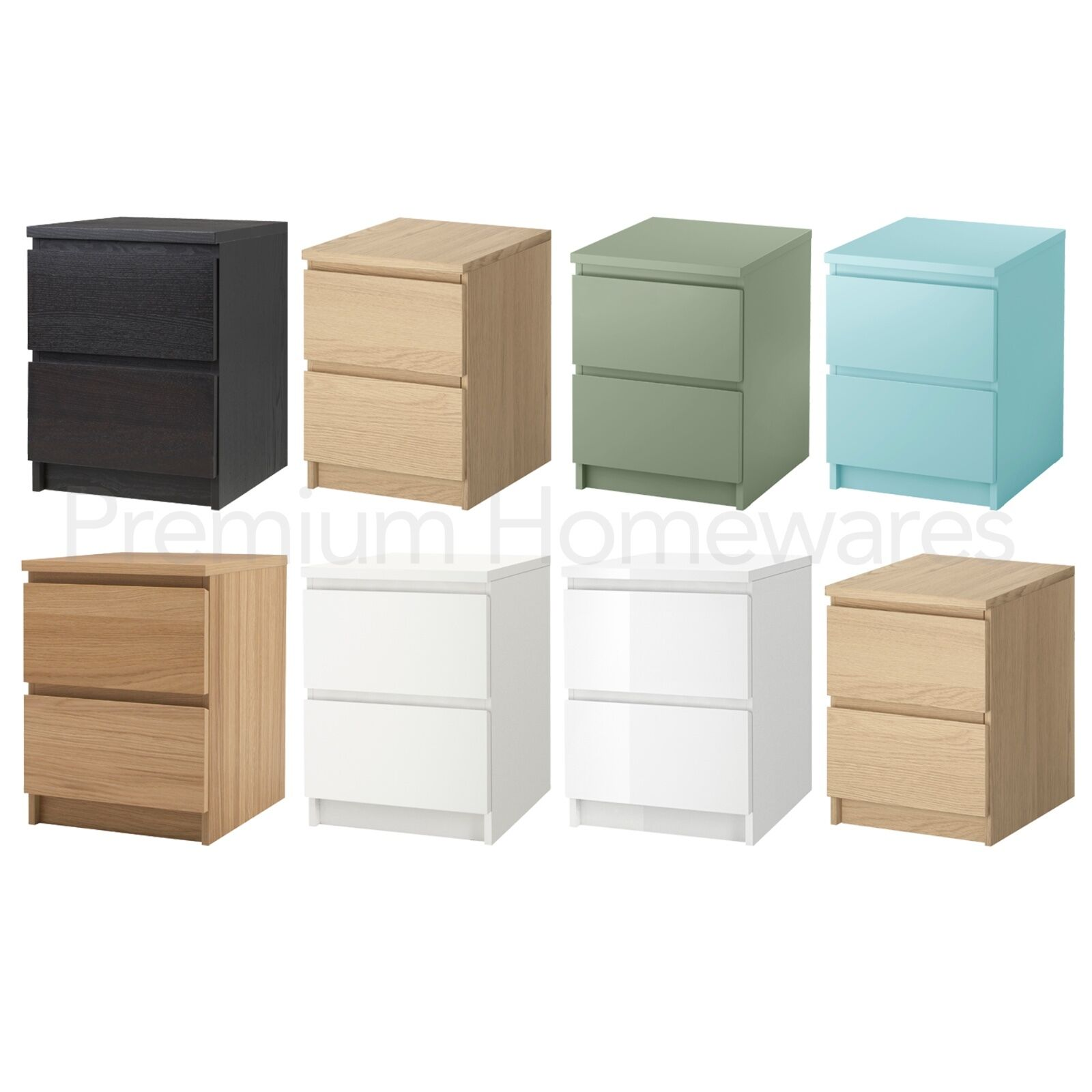 ikea malm bedside cabinet chest with 2 drawers oak veneer