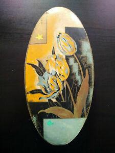 Rare art deco box papier mâché geometric decoration and plant