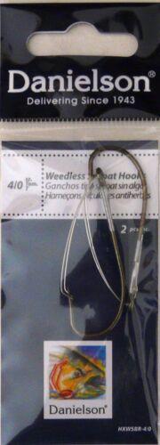 20 Danielson Weedless Sproat Fish Fishing Hooks HXWSBR-4//0 10 Packs of 2