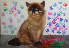 ACEO Original Painting  Cat and Paw Printed Wall Feline Art by LGarcia
