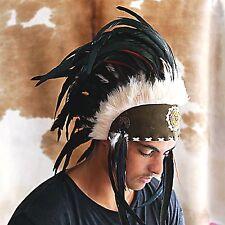 Black Indian Feather Headdress Chief War Bonnet Native American Costume