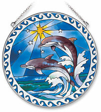 """AMIA STAINED GLASS SUNCATCHER 6.5"""" ROUND STAR DOLPHIN DOLPHINS   #7751"""
