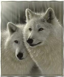 Dawhud Direct Fleece Throw Blanket by Collin Bogle (Sunlit Soulmates Wolves)