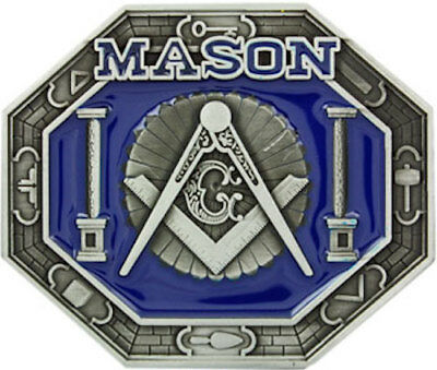 BIG Silver and Rhinestones MASON Belt Buckle Masonic Stone Crafters symbol