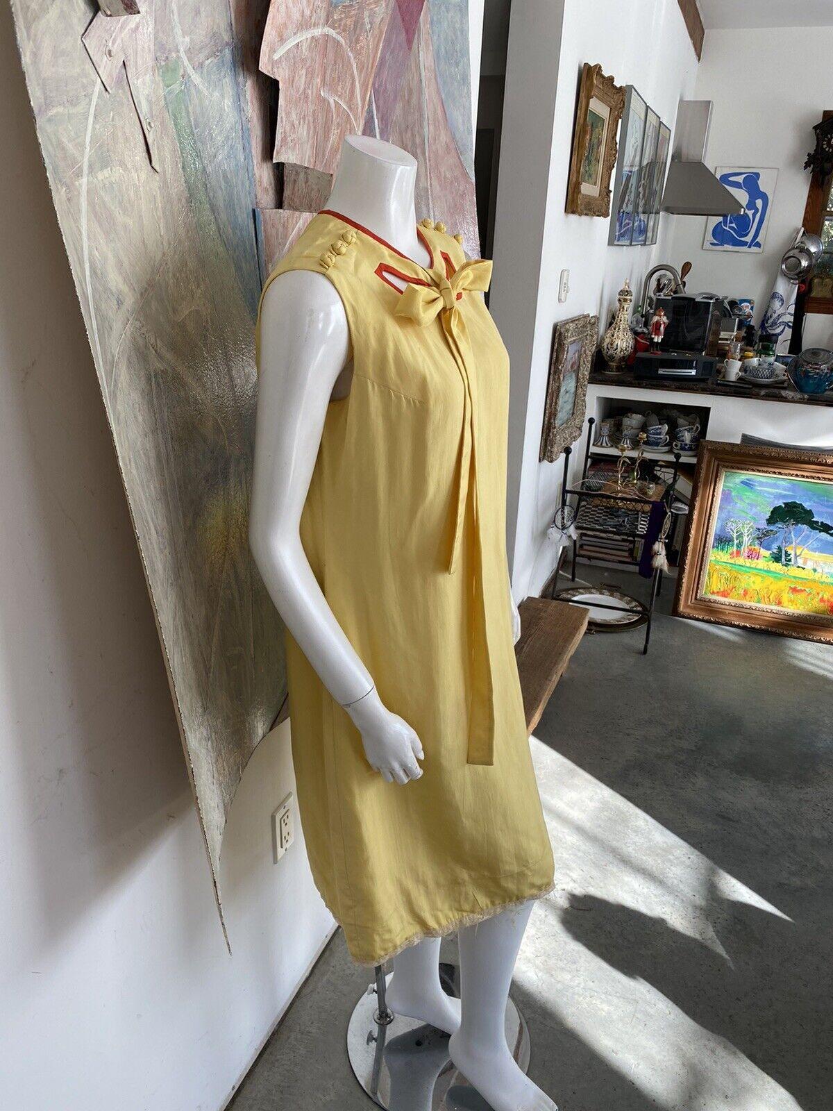 Vintage Alice John Rogers Yellow Silk Pussybow Sh… - image 5