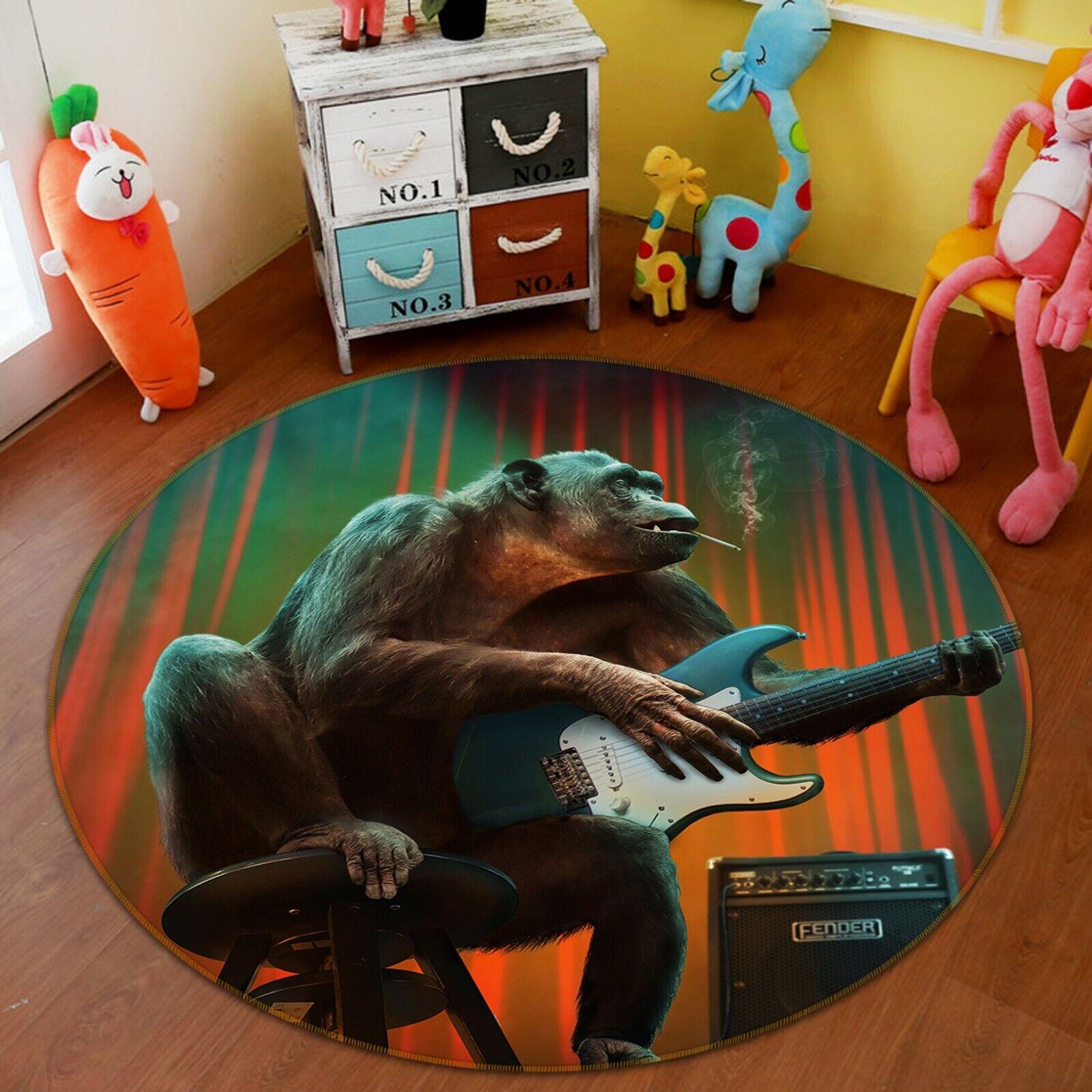 3D Orangutan Playing Guitar C29 Animal Non Slip Rug Mat Elegant Photo Carpet Zoe
