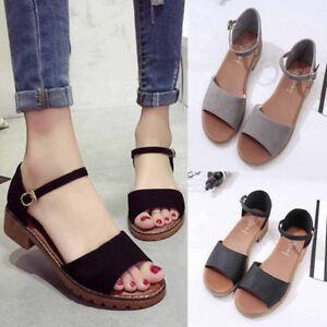 US-Summer-Women-Ladies-Casual-Sandals-Flat-Shoes-Beach-Flip-Flops-Buckle-Sandals