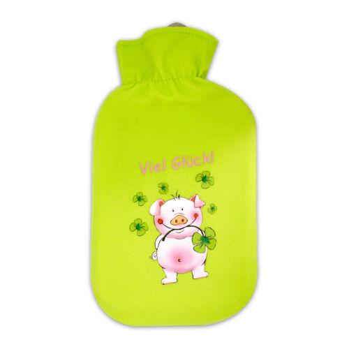 Bettflasche Wärmflasche Gummiwärmflasche LUCKY PIG Glücksschwein h/'grün 2 l