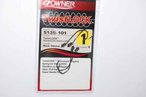 3 packs owner twistlock bass hook 5135-101 w//sos 1//0 spring on shank weedless