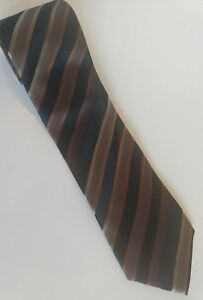 Kenneth-Cole-Reaction-Mens-Neck-Tie-Striped-Brown-Black-100-SILK
