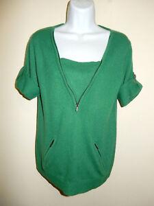 Zip 100 Bcbgmaxazria W shmere Sweater 2 Lommer Neck m V Sleeve Green Xs Short vagxawqH