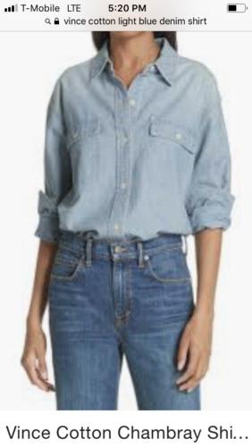 Vince light blue women's denim shirt, size XS