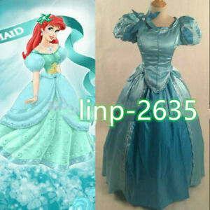 Newest Princess Ariel Little Mermaid Costume Blue Ball Gown Cosplay Dress