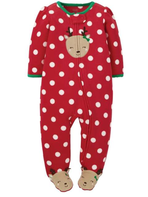 70924f4d0 Carters Sleeper Just One You Girls Reindeer Fleece Christmas Polka ...