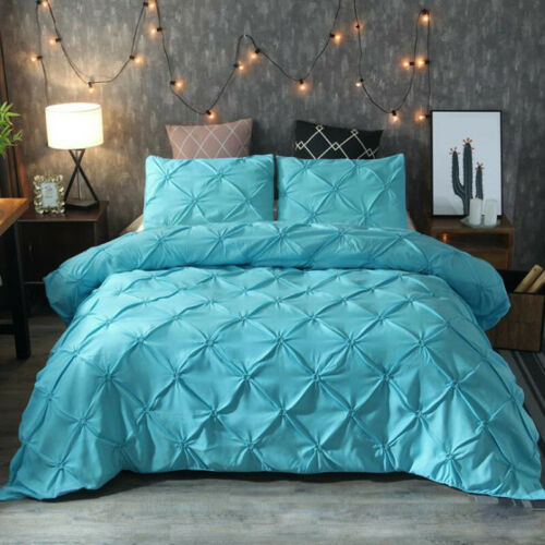 Luxury Pintuck Velvet Soft Duvet Quilt Cover Bedding Set Single Double King Size