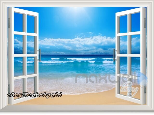 Sunshine Beach 3D Window View Removable Wall Sticker Decal Home decor Room Mural
