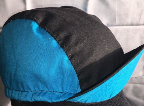 CYCLING CAP ONE SIZE HANDMADE IN USA BLACK /& BLUE SKY   100/% COTTON
