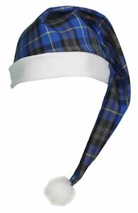Adults-Blue-Hunting-Tartan-Night-Cap-Scottish-Wee-Willy-winky-Hat