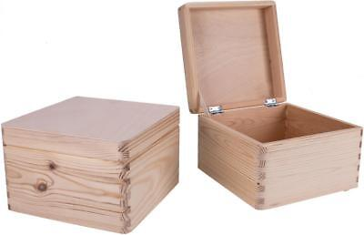 Holzkiste mit Klappdeckel aus Fichte 20 x 20 x 13 cm Kiste Truhe Holztruhe