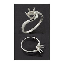 (4mm - 11mm)  Sterling Silver Round Crescent Ring Setting ( Ring Size 5,6,7,8 )