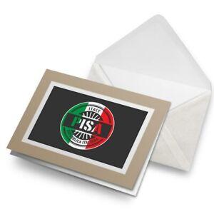 Greetings-Card-Biege-Pisa-Italy-Italian-Flag-Travel-6109