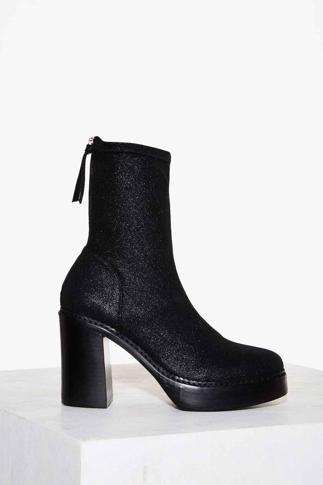 NEW Nasty Gal Radioactive Metallic Boot-Black, size 8.5 M Shimmery Zip Up