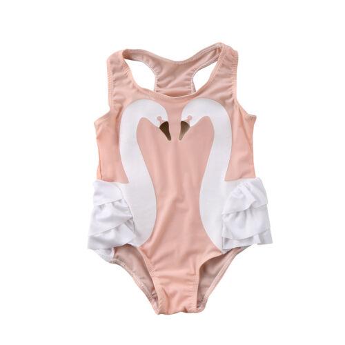 US Stock Toddler Kids Baby Girls Swimwear Swimsuit One-piece Bikini Beachwear