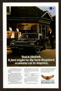 1982-BUICK-Skylark-Vintage-Original-Print-AD-Black-car-gas-station-photo-EN