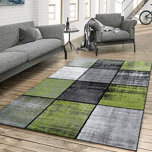 Teppich Wohnzimmer Modern Kariert Meliert Grau Schwarz Grün | eBay