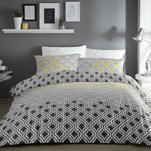 Dreams-amp-Drapes-IKAT-Duvet-Cover-Bedding-Set-Grey-Yellow-White-Bed-Linen-Printed