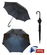 Mens Long Double Canopy Windproof Automatic Umbrella Black