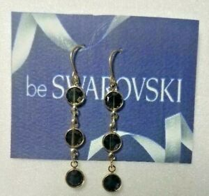 Vintage-Swarovski-10k-Gold-Plated-Dangle-Earrings-Onyx-Black-Stones