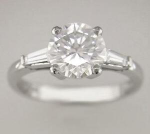 Diamond-Solitaire-Round-amp-Platinum-Ring-1-71ct-Certifcated-F-SI1-Exc-Brilliant