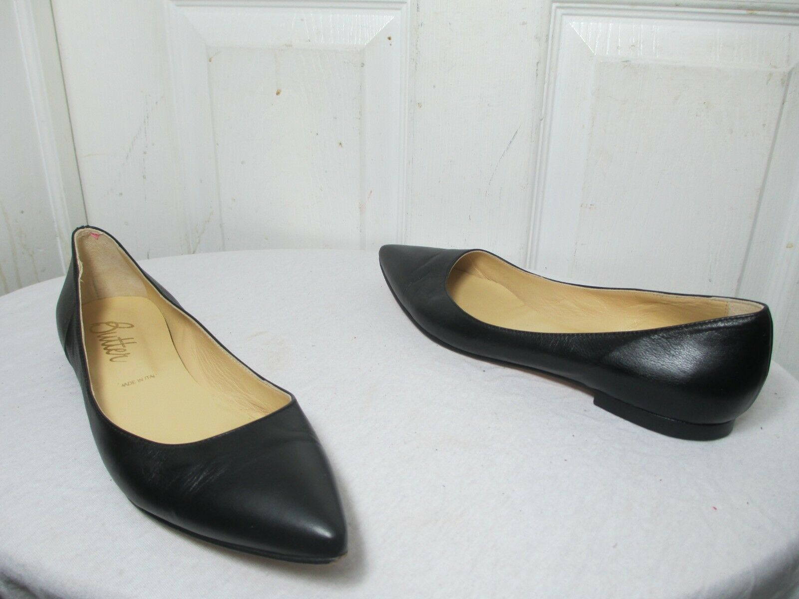 BUTTER donna'S nero LEATHER FLAT LOAFERS Dimensione 9 MADE IN ITALY