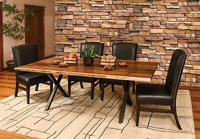 7-Pc Set Amish Trestle Dining Table Chairs X Metal Base Solid Wood Live  Edge | eBay