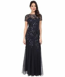 5ed7a2aed715 Image is loading ADRIANNA-PAPELL-Navy-Twilight-Floral-Beaded-Godet-Gown-