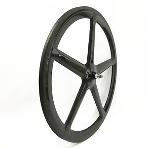 700C-Tubular-Clincher-Carbon-5-Spoke-Wheel-21mm-Wide-Road-Fixed-Track-Bike-Wheel