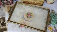 Gorgeous Vintage Ormolu Dressing Table Vanity Tray Petit Point Floral Panel Lace