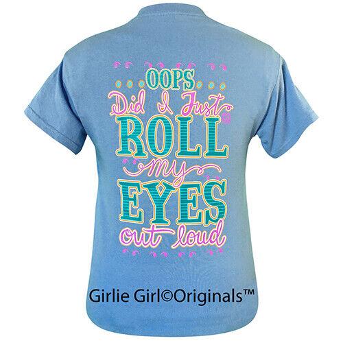 Girlie Girl Originals Tees Roll My Eyes Carolina Blue Short Sleeve T-Shirt - 2138