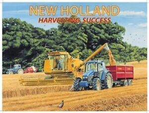METAL-NEW-HOLLAND-HARVEST-WALL-TIN-SIGN-PLAQUE-GARAGE-SHED-TRACTOR-GIFT-FARMING