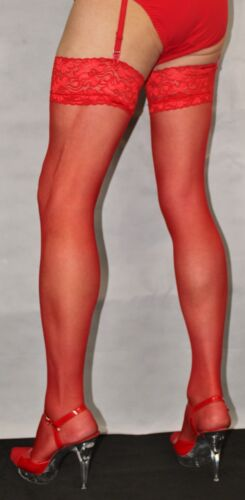 Fabulous Bright Red 15 Denier Luxury Lace Top Extra Long Satin Sheen Stockings
