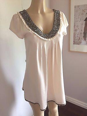 ALICE + OLIVIA Ivory Silk Jeweled Beaded Design Tunic Dress Size Medium