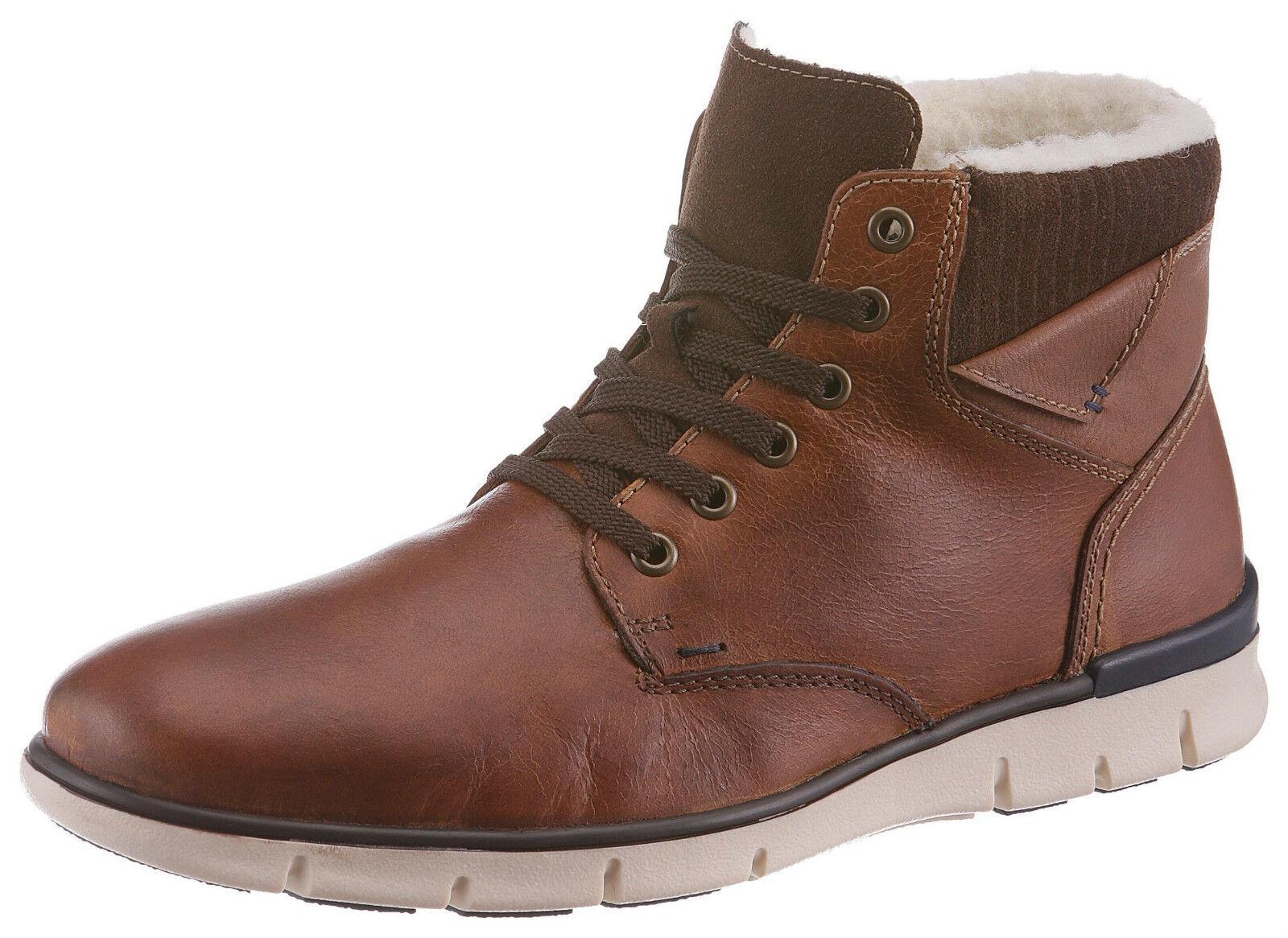 Rieker cuero señores zapato marrón botas de invierno con lana virgen ata