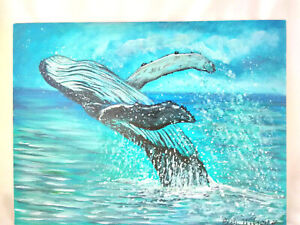 Original-Acrylic-Painting-9-034-x12-034-Canvas-Panel-Humpback-Whale-Home-Decor-Art