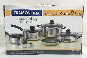 Tramontina-9-Piece-Non-Stick-Cookware-Set-Silver-Color-Simple-Cooking-New