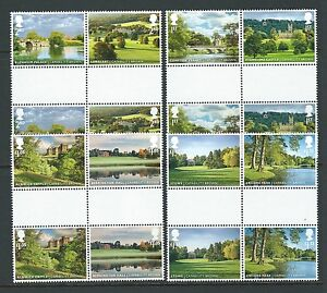 GREAT BRITAIN 2016 LANDSCAPE GARDENS SET 8 GUTTER PAIRS UNMOUNTED MINT, MNH